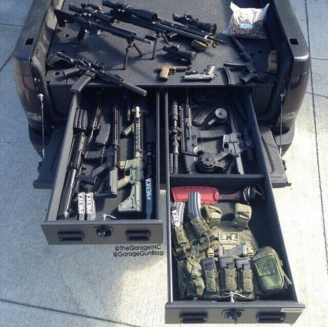 Truck Bed Vault For Guns And Ammo Tactical Truck Guns Guns Tactical