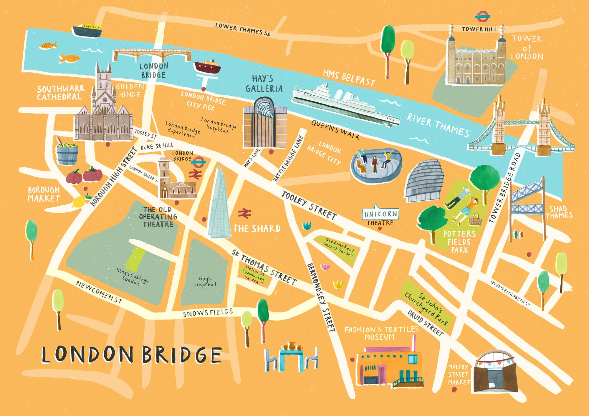 Map London Bridge.Spicer Cole Livi Gosling Illustration Maps London