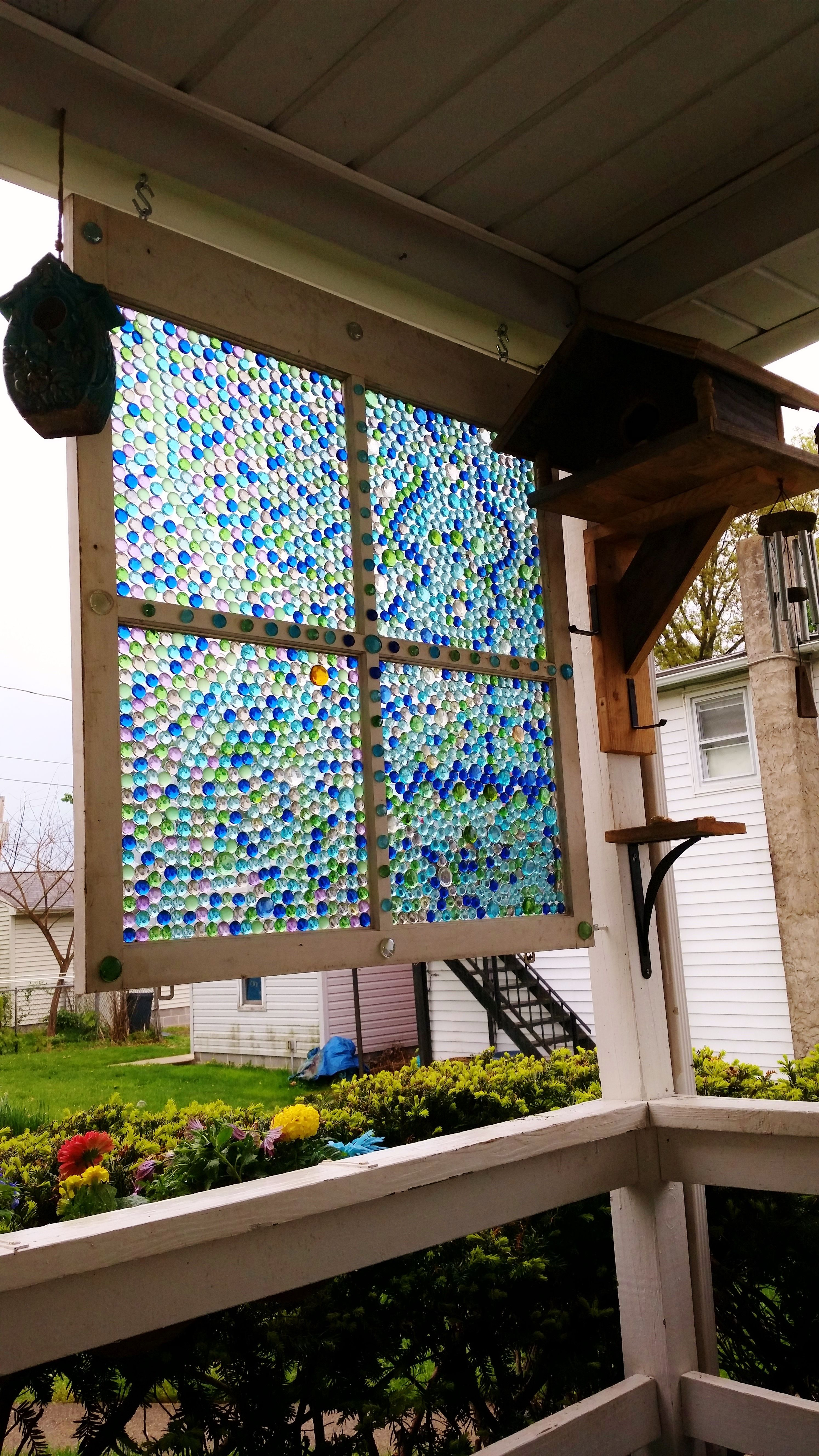Garden Art Made Of Old Window And Glass Beads Faux