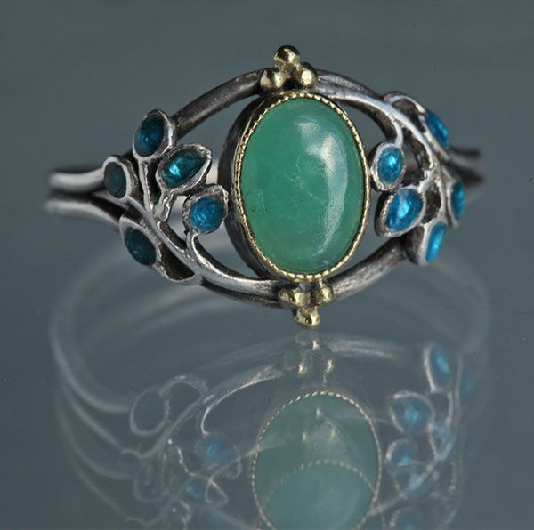 Rare Liberty & Co. Arts & Crafts Ring, Silver Gold Enamel Chrysoprase (c. 1900) - Jessie M. King