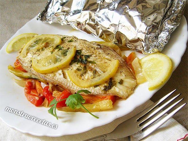 Lenguado Al Horno Con Verduras En Papillote El Monstruo De Las Recetas Pescado Con Verduras Lenguado Al Horno Platos Con Pescado