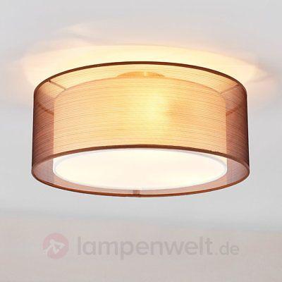 Details Zu Deckenleuchte Nica Textil Lampenwelt Stoff Braun Weiß  Doppelschirm Schlafzimmer