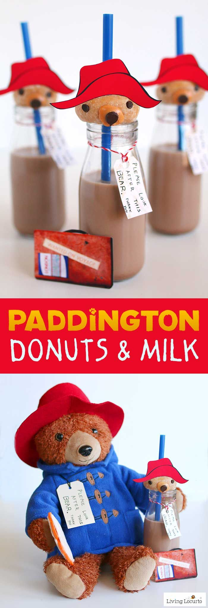 Paddington bear donuts and milk are adorable no bake party treats! A simple DIY fun food recipe idea inspired by the movie PADDINGTON 2. Get free printables and directions for how to make these cute bear donuts food craft. Cute dessert for a Paddington Birthday Party or family movie night! LivingLocuto.com