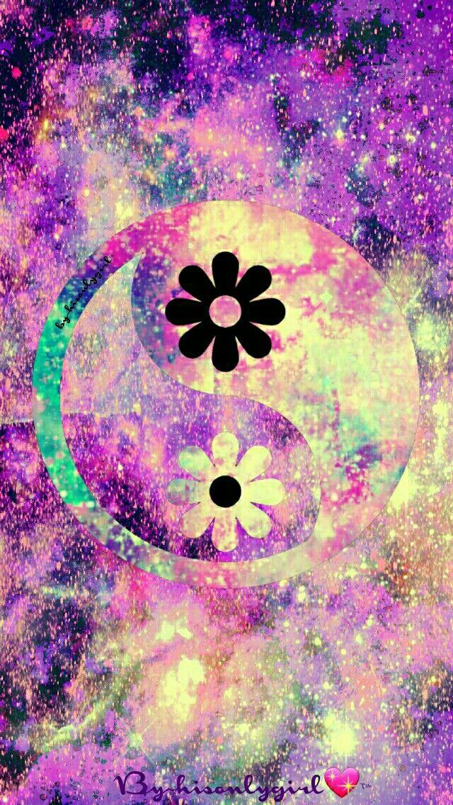 Floral yin yang galaxy wallpaper i made for the app for Imagenes bonitas para fondo de pantalla