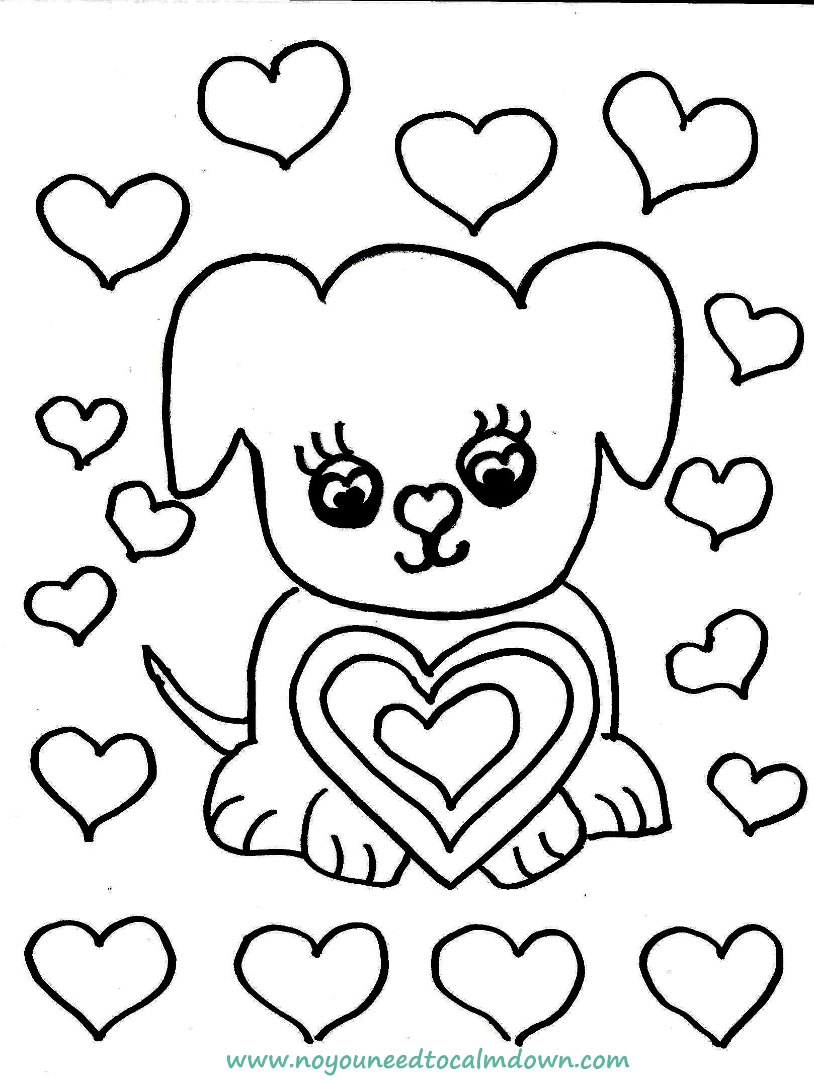 Cute Dog Valentine S Day Coloring Page