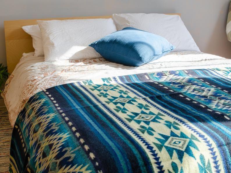 Alpaca Blanket Turquoise Wool Blanket Warm Boho Blanket Etsy Queen Blanket Woven Blanket Blanket