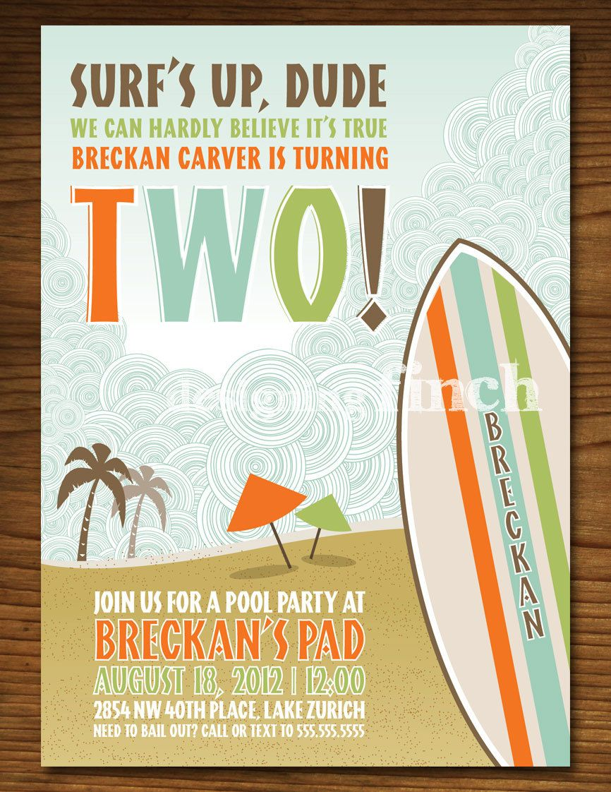 Surf And Beach Birthday Invitation Printable Customized