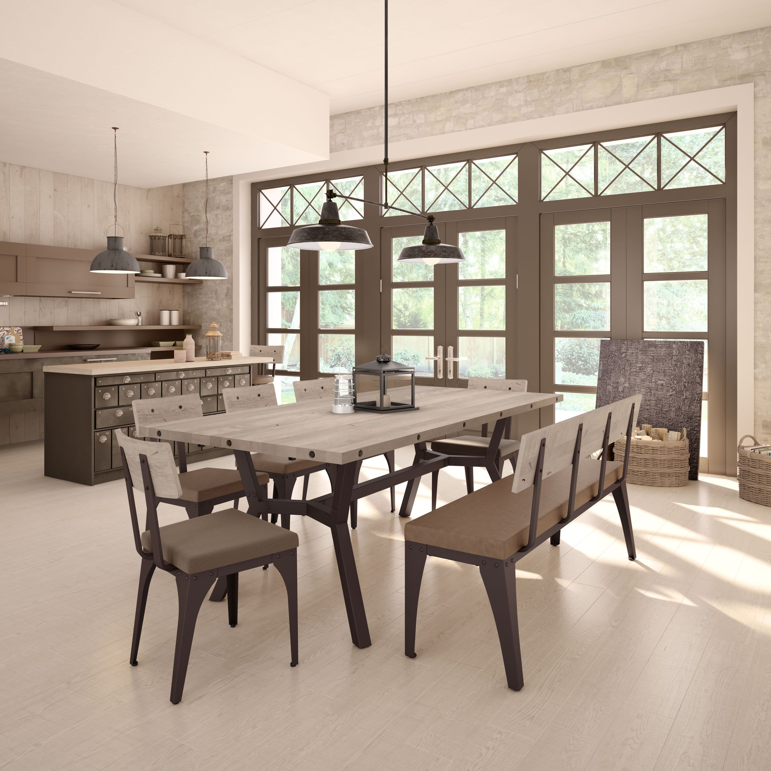 Amisco Southcross Table 50567 Architect Chair 30263 Architect Bench 30273 Furniture Kitchen Indus