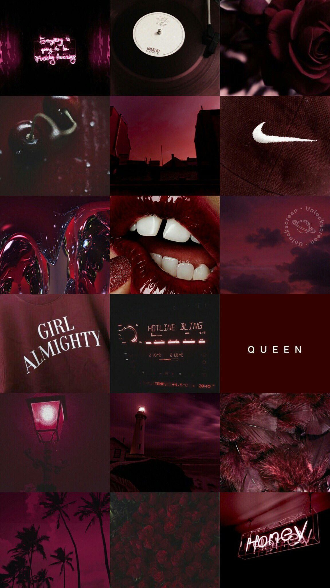 Red Aesthetic Collage Wallpaper Laptop