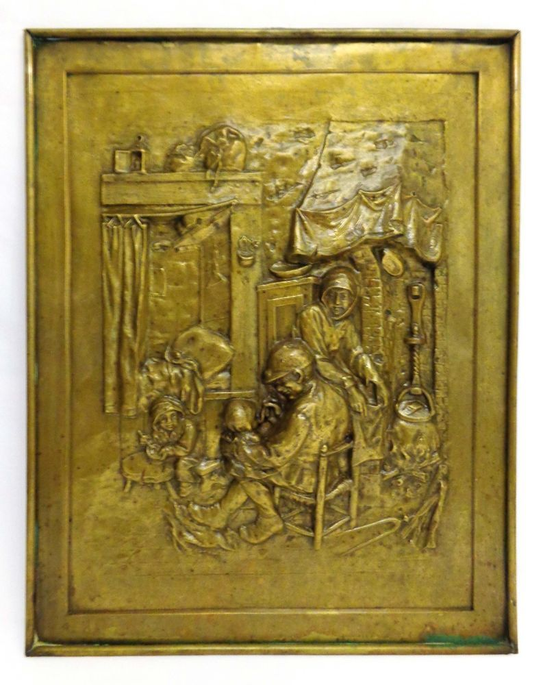 Arts & crafts vintage bas-relief heavy brass lg wall sculpture ...