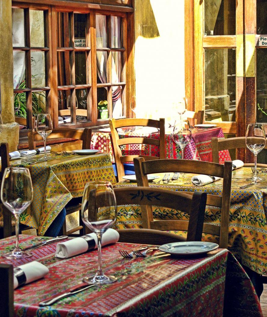 Casanova Restaurant ~ Oil Cloth Tablecloths On Patio Tables