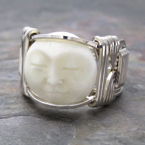 Carved Bone Bovine Moon Face Cameo Sterling Silver Wire Ring Made To Order And Ships Fast Bone Carving Silver Wire Rings Sterling Silver Wire Wrap