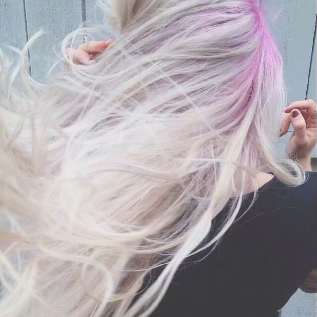 Platinum blonde hair. Pink shadow root. Pink hair. Blonde ...