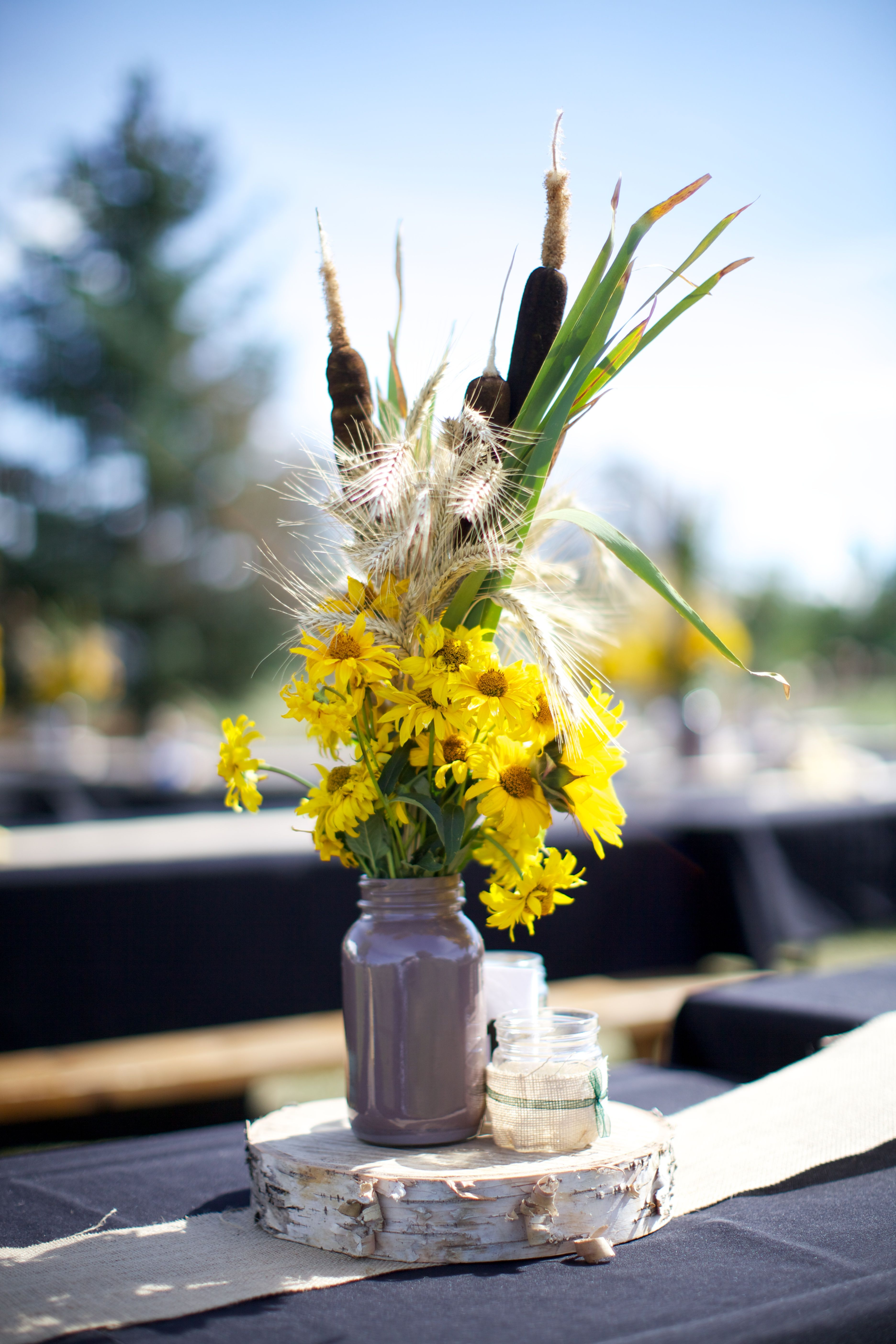 Centerpieces Sunflowers Cattails Wood Cookies Mason