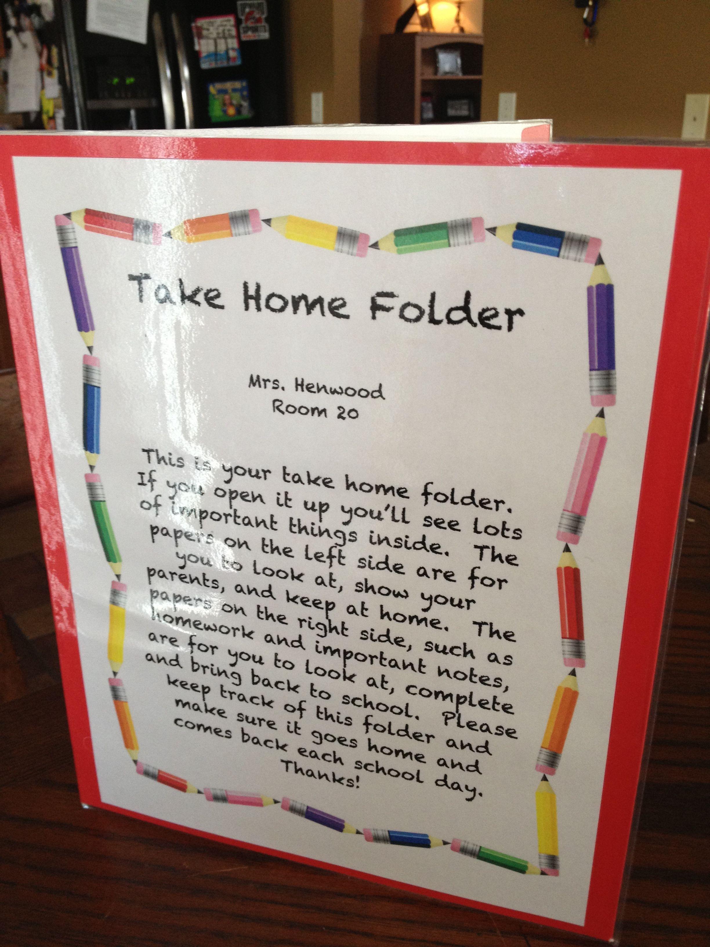 Take Home Folders To Keep Kids Organized Prek Pinterest Kinder