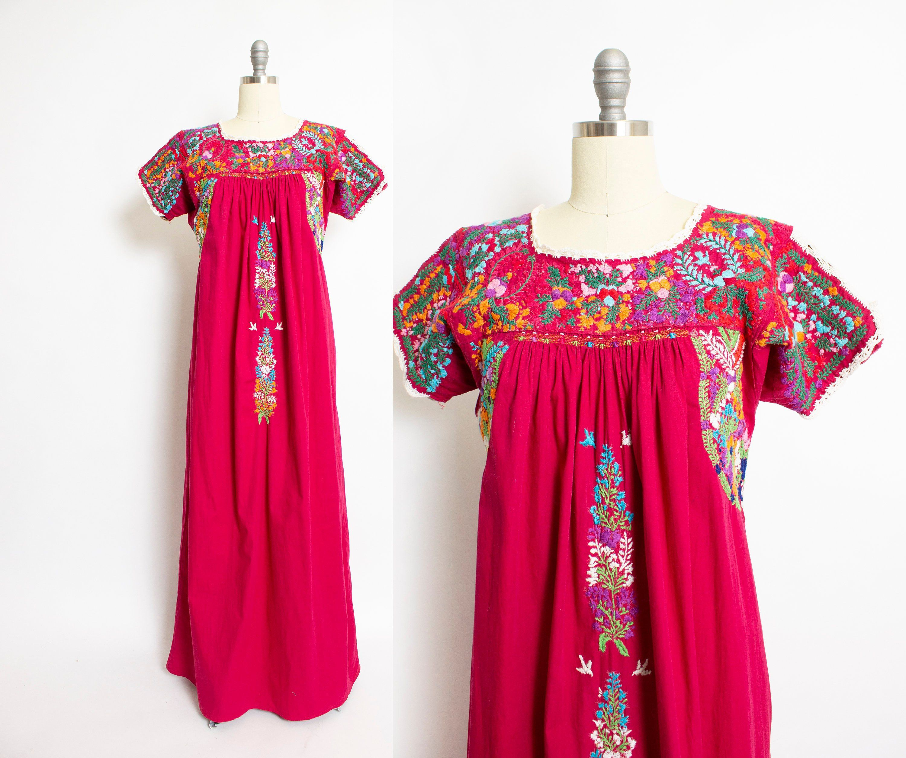 1fa54d91fa7 Vintage 1970s Dress Mexican Embroidered Cotton Floral Maxi Small / Medium