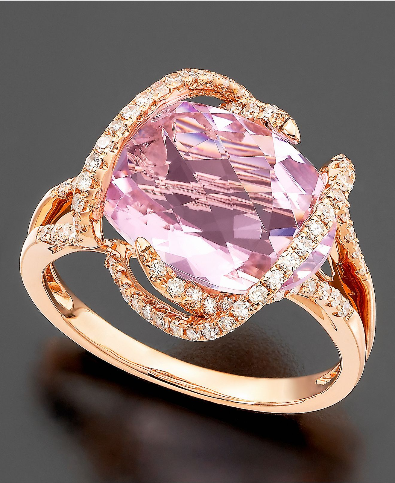 Effy Collection 14k Rose Gold Ring, Pink Amethyst (7-3/4 ct. t.w. ...