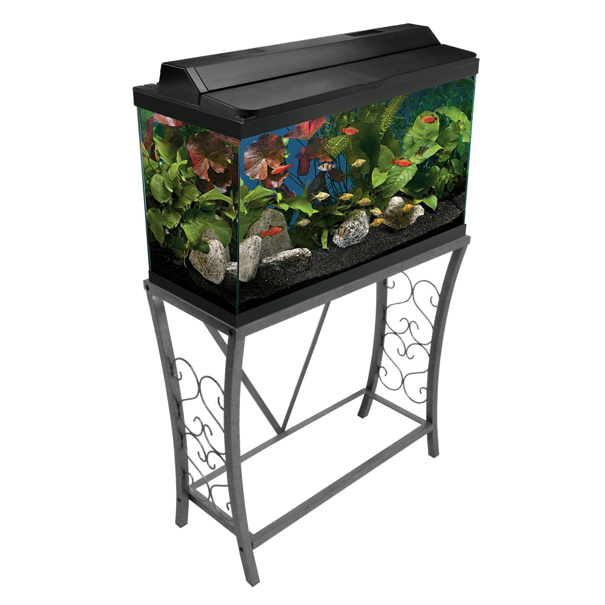 Aquatic Fundamentals Silver Vein Scroll Aquarium Stand For 29 Gallon Aquariums Petco Aquarium Stand Fish Tank Stand Best Aquarium Fish