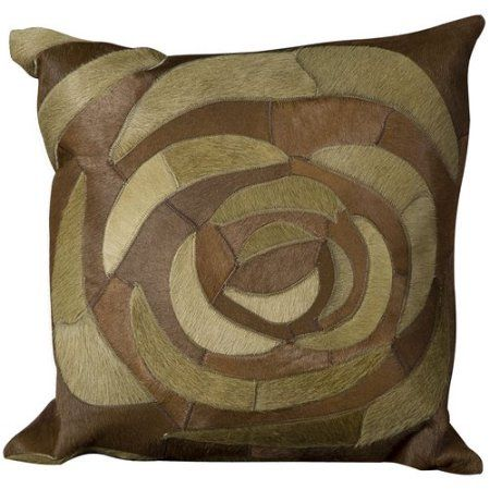 Natural Leather Hide Pillow, C5100, Green, 20 inch x 20 inch