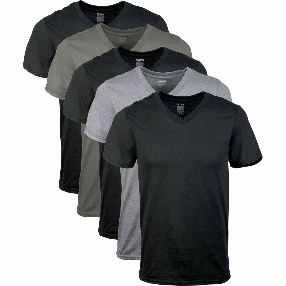 Gildan Men/'s V-Neck T-Shirts 5 Pack Multi Medium