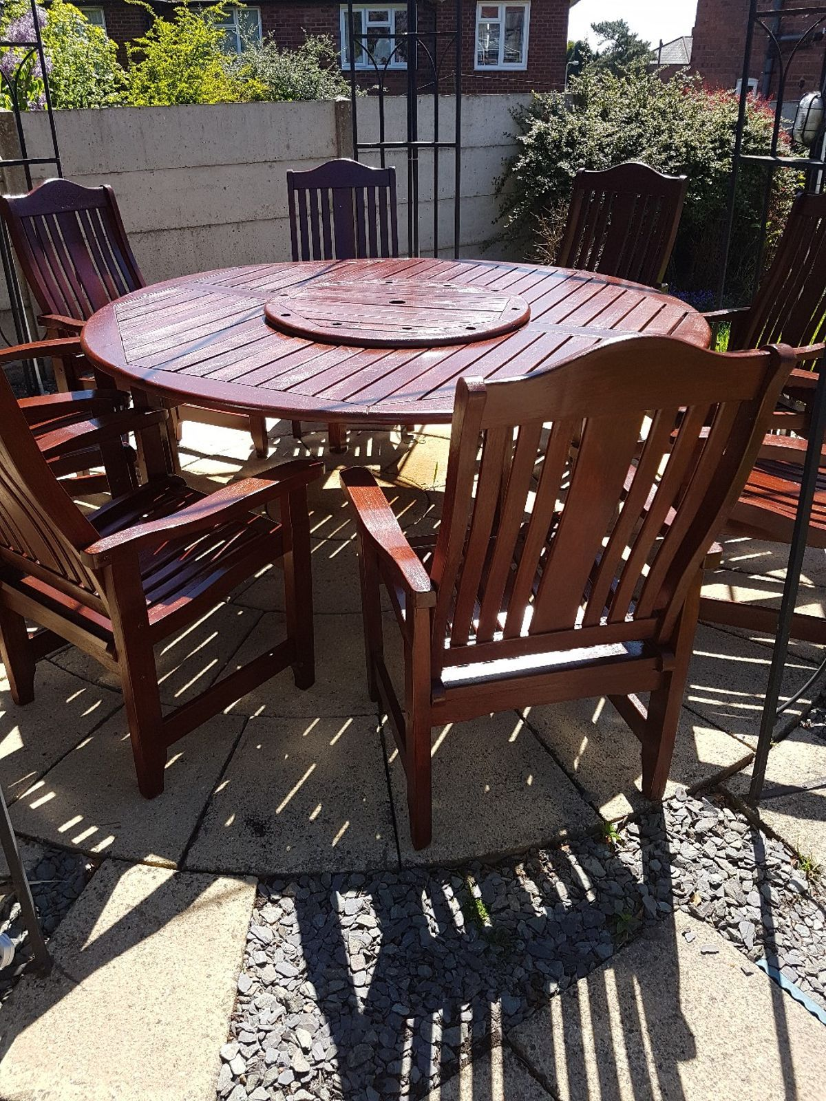 Large Round Wooden Garden Table And Chairs Feels Free To Follow Us In 2020 Wooden Garden Table Garden Table And Chairs Garden Table