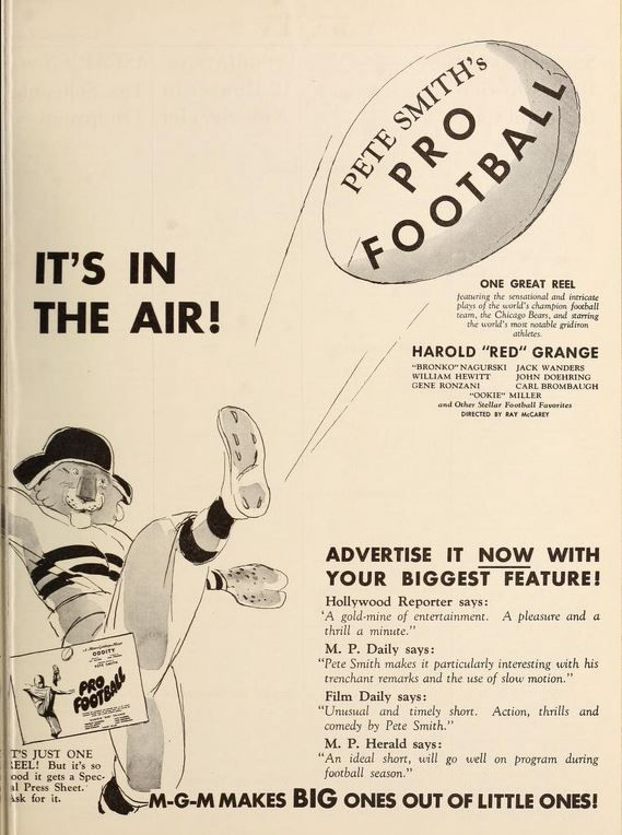 September 22 1934 The Chicago Bears Star In A Mgm Short Subject