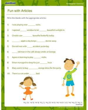 Fun with Articles - Kindergarten English Worksheet | Esol ...