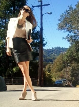 White blazer and Leather skirt