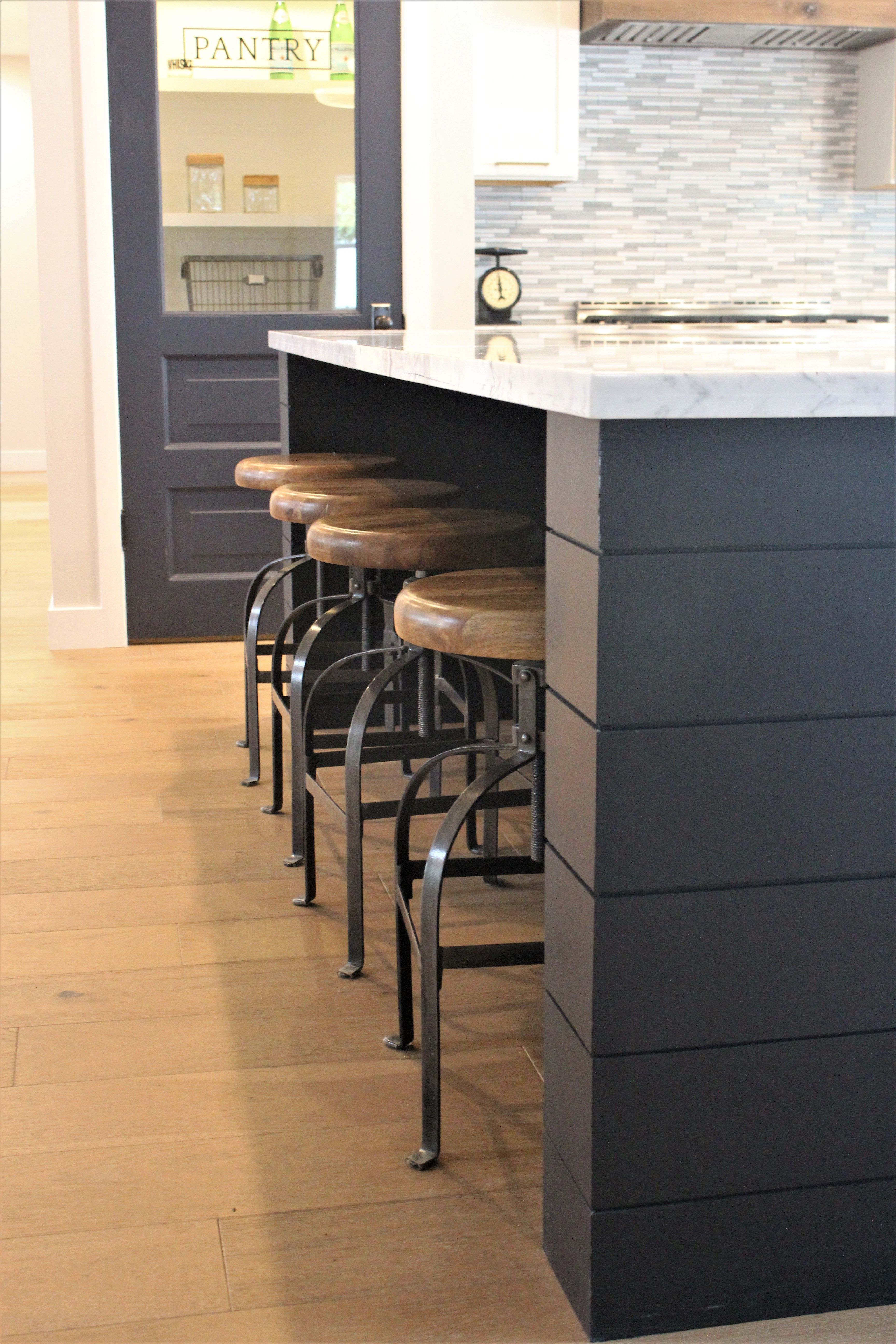 diy kitchen island with seating corner cabinet black painted shiplap on by rafterhouse