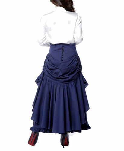 bac3d0259f Victorian Steampunk Dark Blue Bustle style swag long Skirt. Victorian  Inspired skirt has a high waist and features Black Corset style Ribbons in  the front.