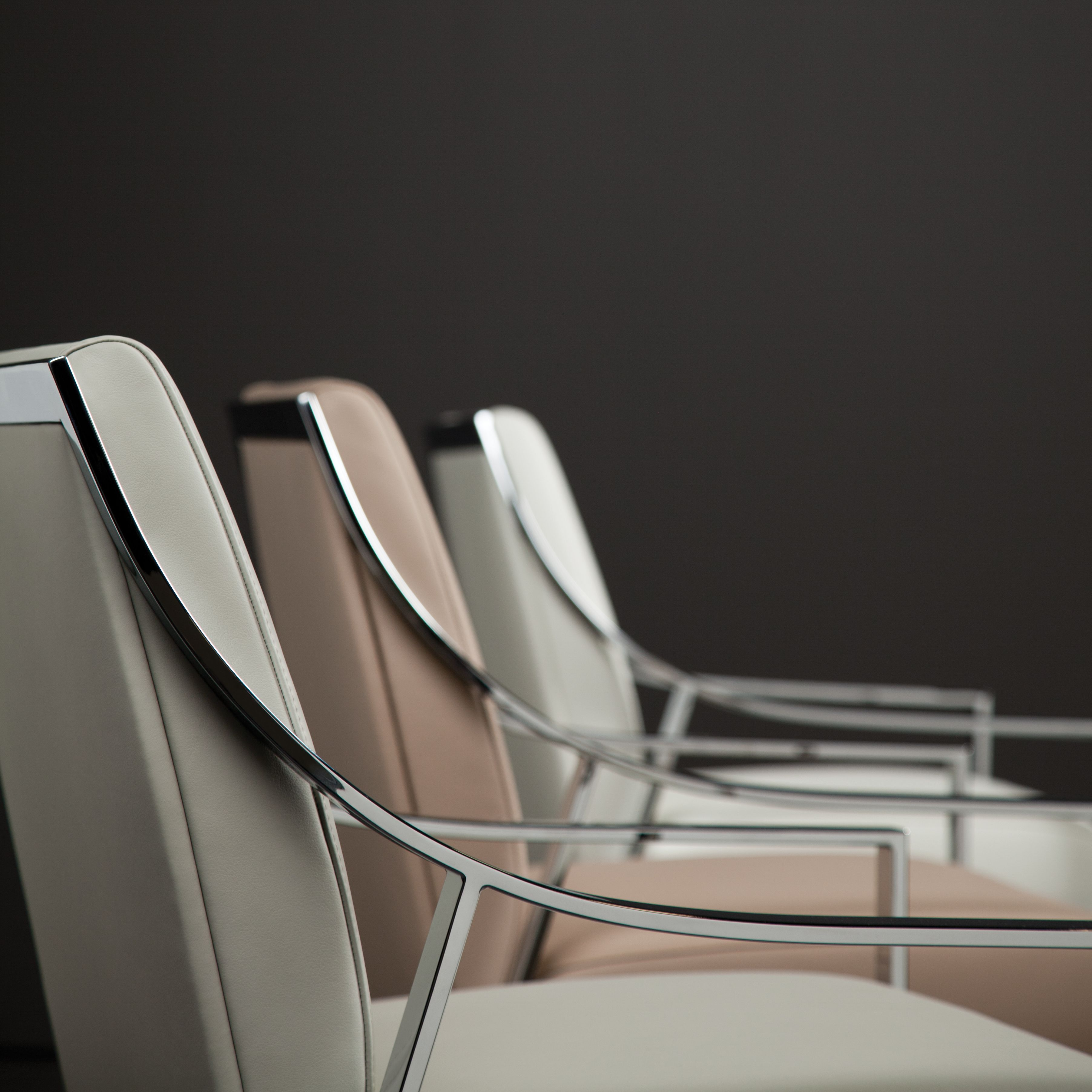 Chic Office   Soft Shades Of Leather And Chrome   Designer Christophe  Pilletu0027s Aileron Chairs