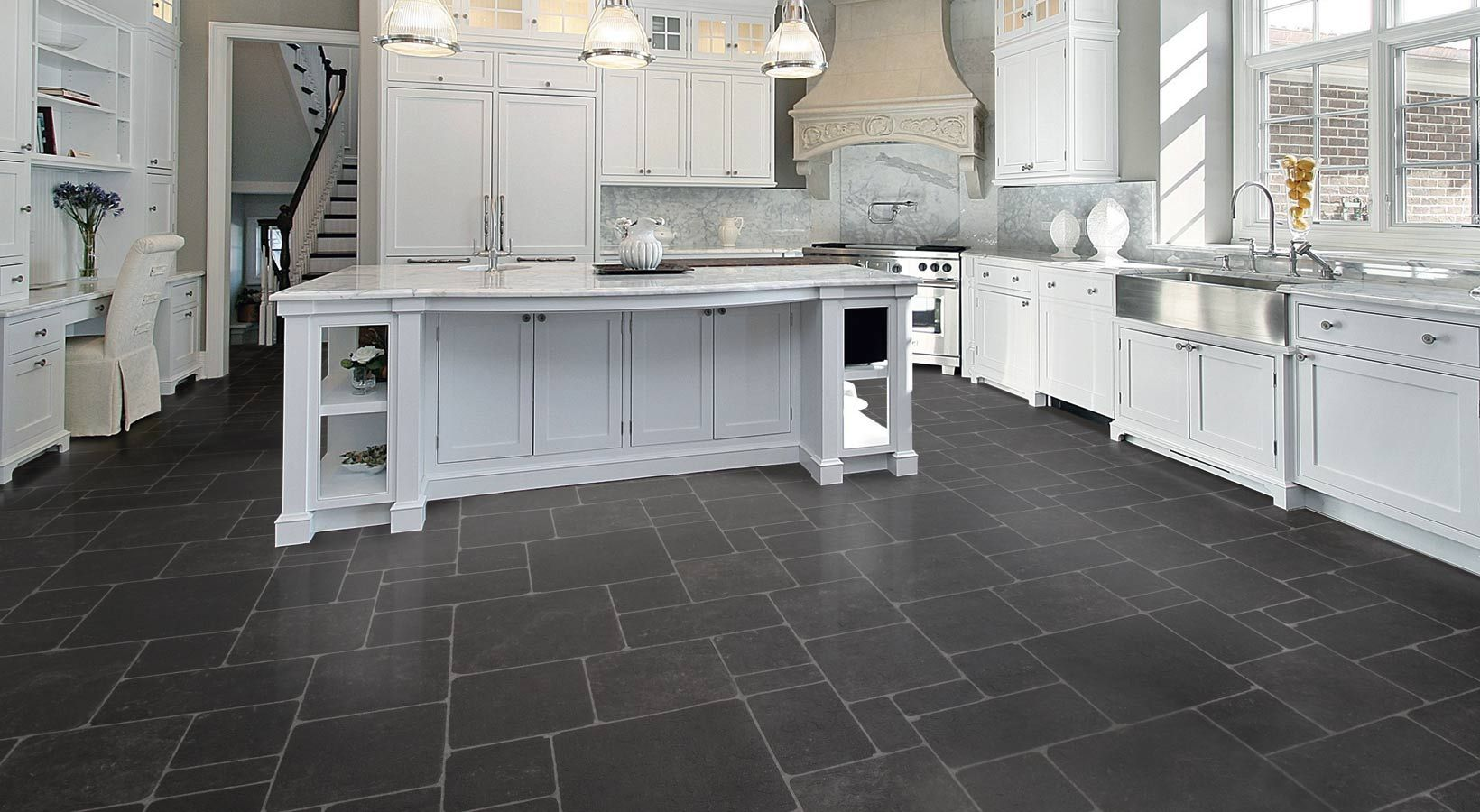 Vinyl floor floor design gorgeous white grey kitchen for Kitchen vinyl flooring