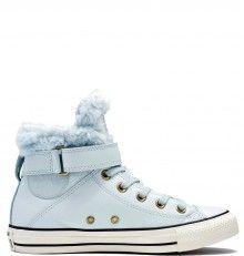 40ace004b4f Converse světle modré kožené dámské boty Brea s kožíškem