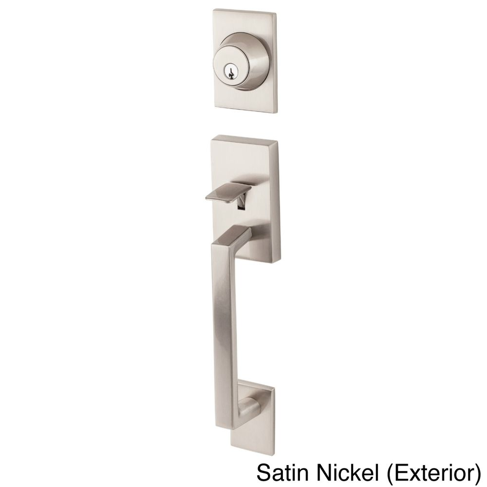 Square modern front entry handle set shopping big discounts on door hardware for Contemporary exterior door hardware