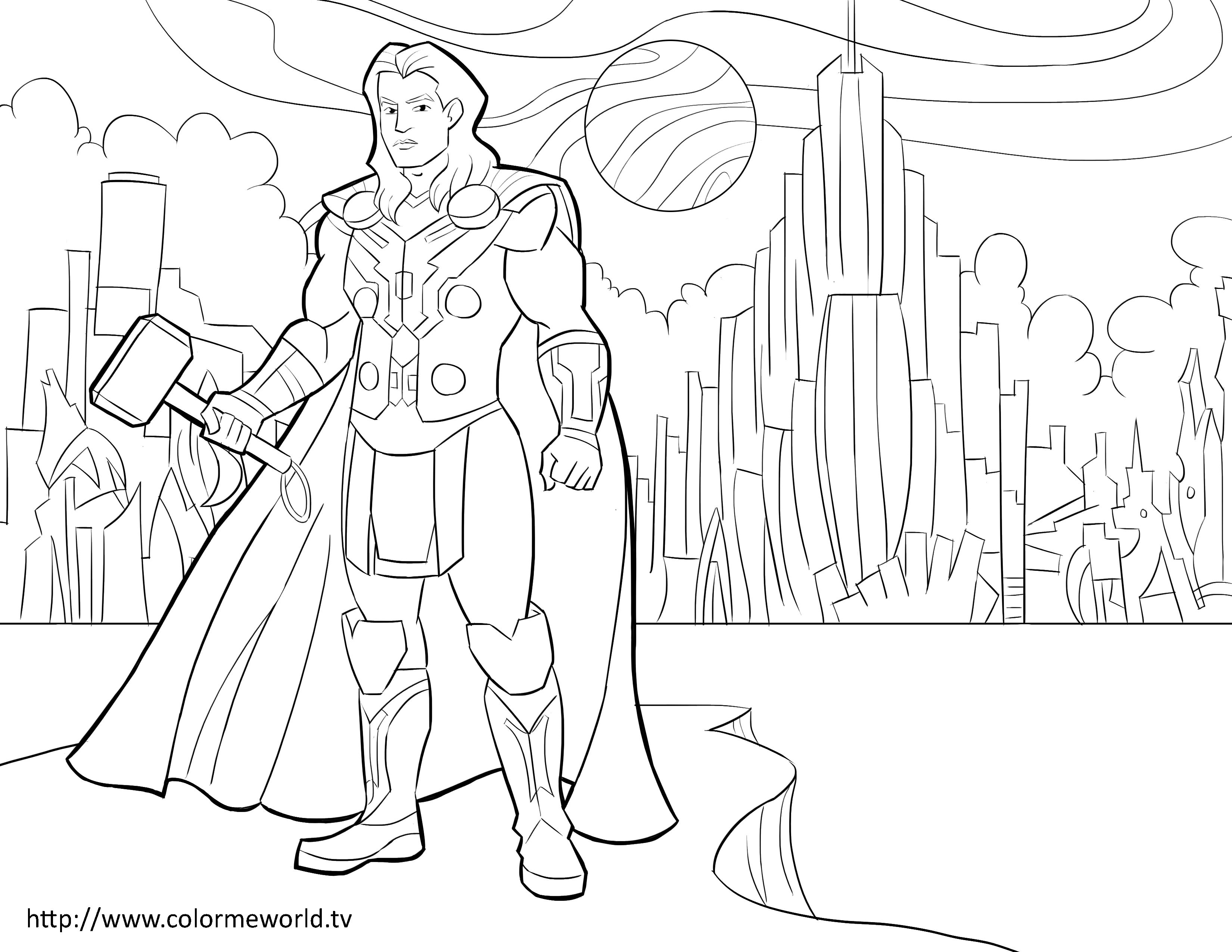 Thor PDF Printable Coloring Page - | AVENGERS COLORING ...