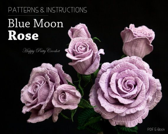 Crochet Rose Pattern - Blue Moon Rose Crochet Flower Pattern ...
