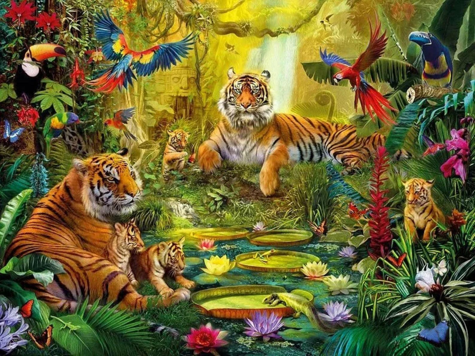 Happy Tiger Home Gift Decor 5d Diy Diamond Painting Kit Full Square Round Diamond Embroidery Mosaic Wall Decor Rhinestone Cross Stitch In 2021 Jungle Art Animal Wallpaper Painting