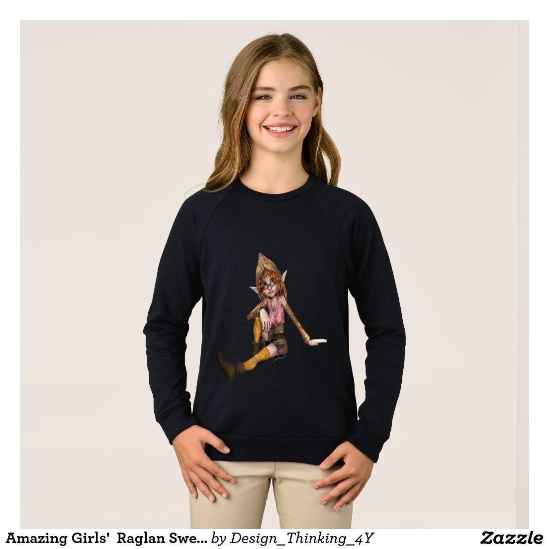 Amazing #Girls'  Raglan #Sweatshirt In Elf Design