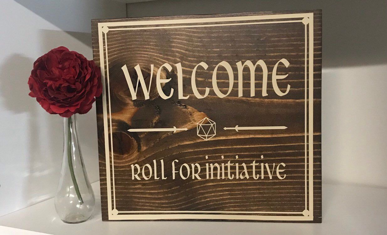 Welcome - Roll for Initiative Sign 12 x 12 Game Room Sign, Dungeons and Dragons, Welcome Dice Sign images
