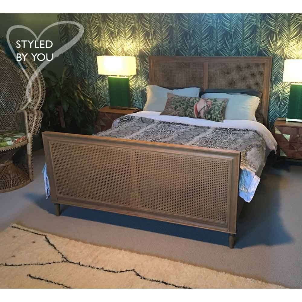 Rafferty Rattan Wicker Weathered Bed Rattan Bed French