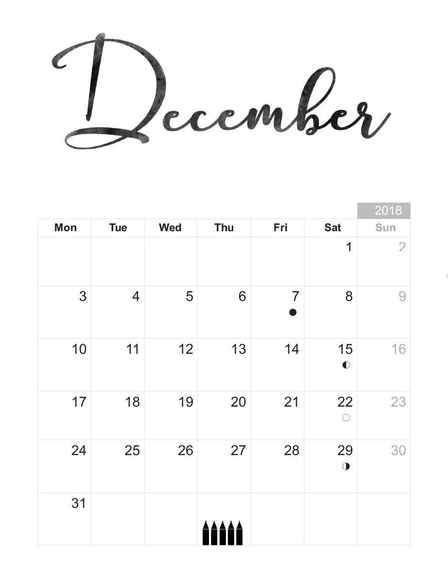 December 2018 Calendar Printable Stylish Design