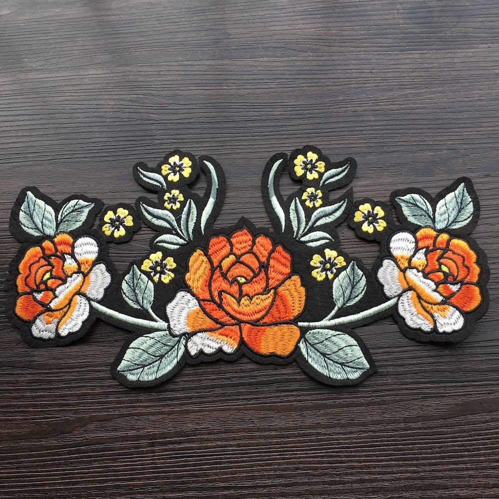1PCS Chinese Bamboo Embroidered Iron on Patches Applique Fabric Clothes Trim