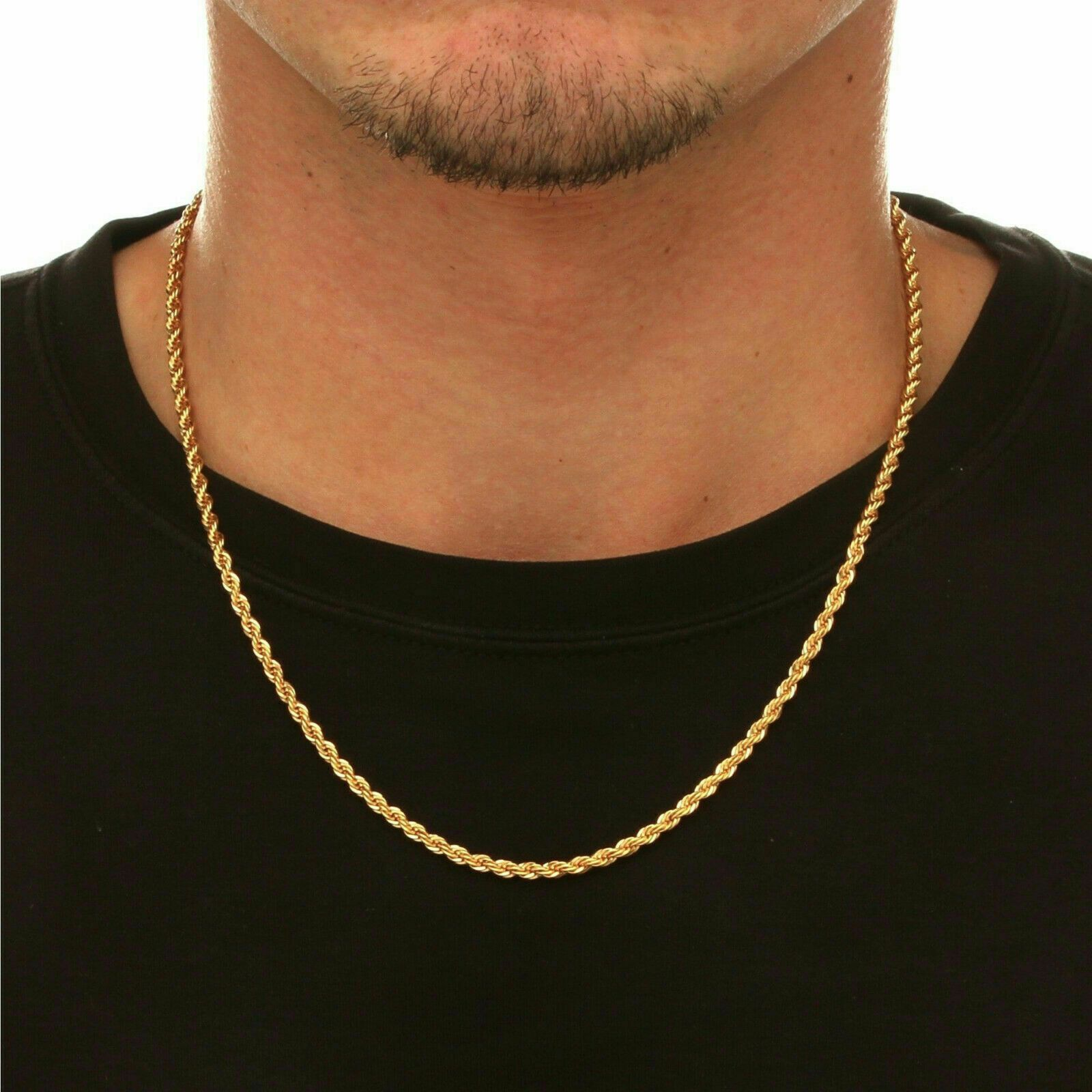 18k Solid Gold Rope Chain Necklace Men Women 14 18 20 22 24 26 28 30 Https Uxshops Com P Gold Necklace For Men Mens Rope Necklace Gold Rope Chains