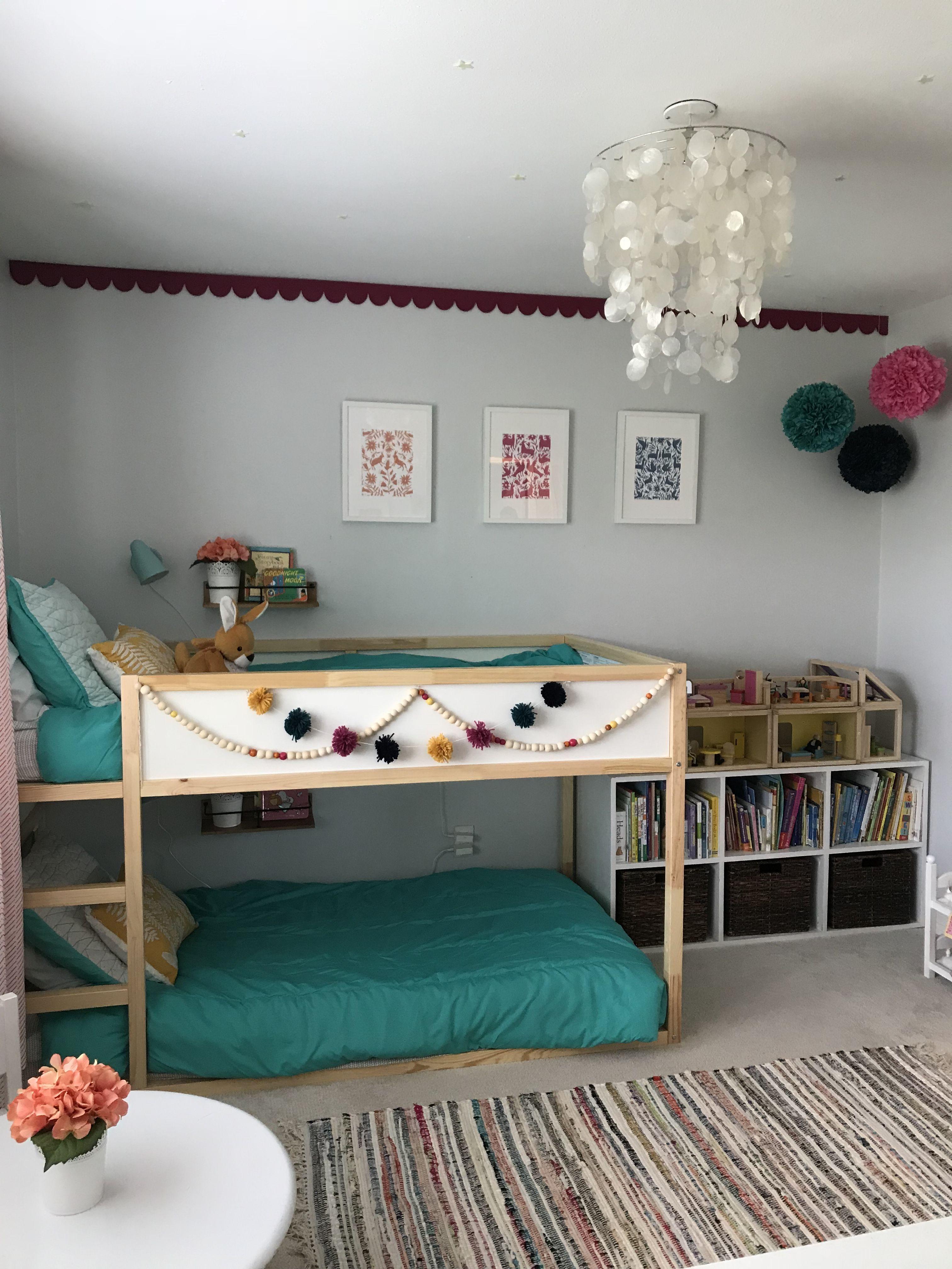 Little Girls Room Kura Bed From Ikea Otomi Prints