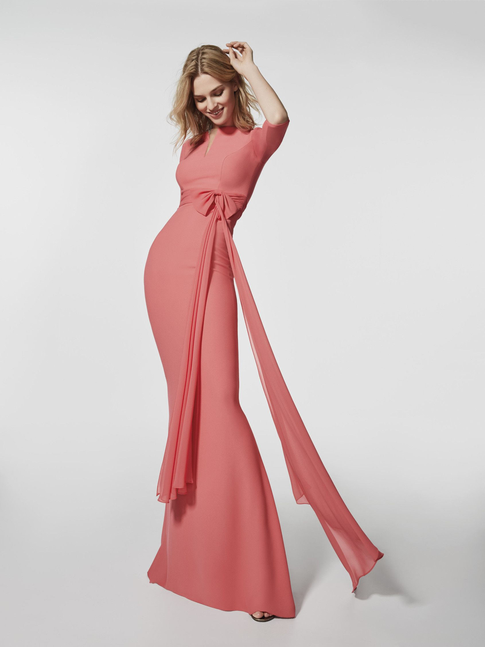 Pink cocktail dress - Long dress GRUPEN - 3/4 sleeves | Pronovias ...