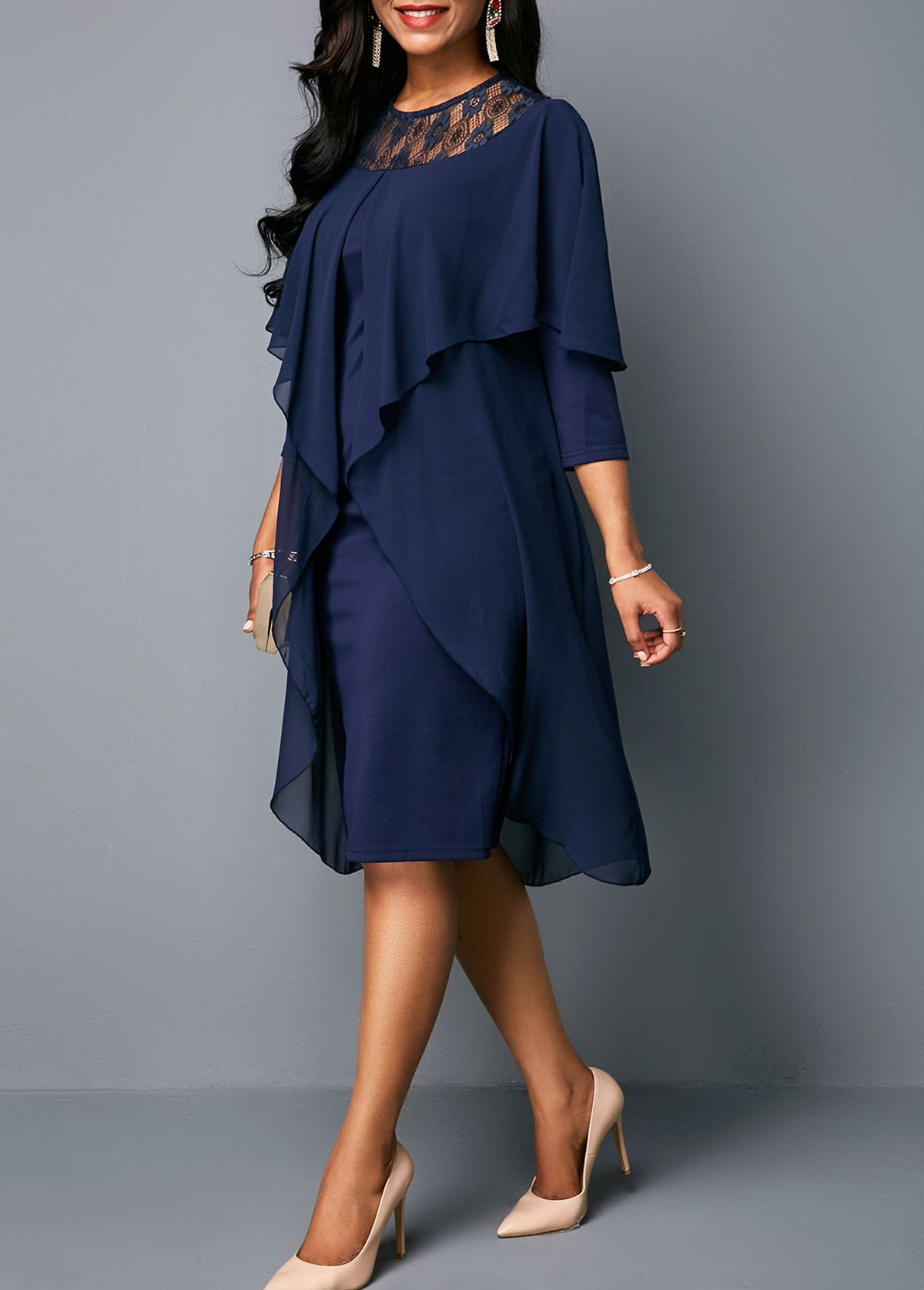 Three quarter sleeve round neck chiffon dress in dresses