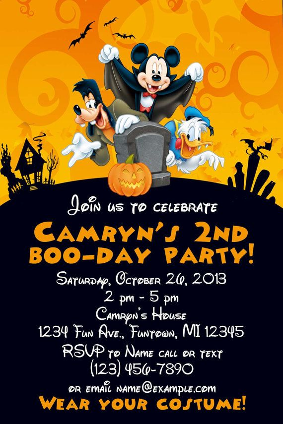 Mickey Mouse Halloween Birthday Invitation 1st Birthdays Invitations Disney Parties