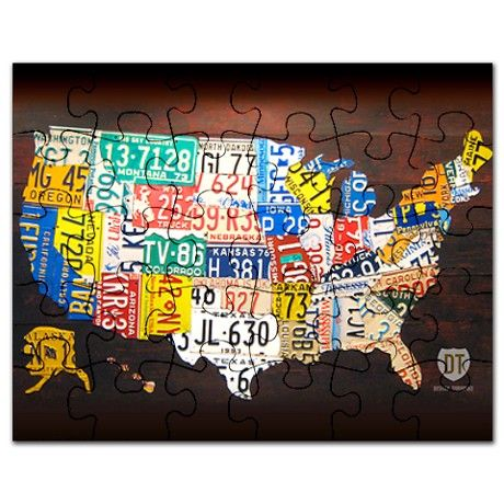 License Plate Map Of USA Puzzle License Plates And Buckets - Us map license plate puzzle