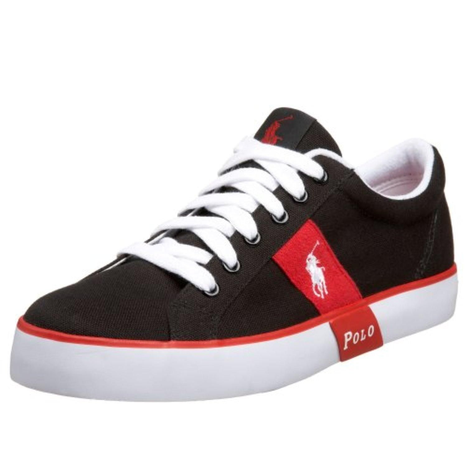 Polo Ralph Lauren  Men's Giles Canvas Sneaker,Black/Red,10.5 D - Brought to you by Avarsha.com