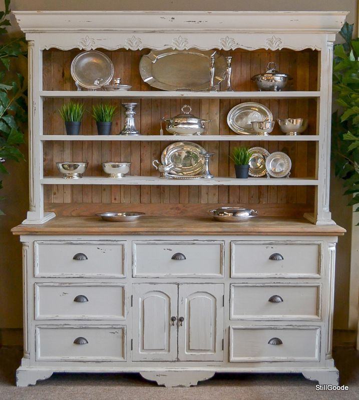 Large French Country Style Ivory China Cabinet With Open Plate Rack Hutch.  Base Has 7